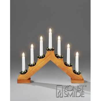 CHRISTMAS 7 LIGHT OAK WOODEN CANDLESTICK / CANDLE BRIDGE