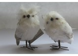 Christmas Decoration - 2 Plush Realistic looking Small Owl birds with Glitter