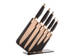 Tower 5-Piece, Rose Gold and Black Damascus Effect Knife Set with Stainless Steel Blades and Acrylic Stand, T81532RB