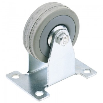 100mm Dia. Fixed Plate Fixing Rubber Castor - S.W.L. 80Kg