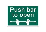 'Push Bar To Open' Safety Sign