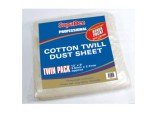 Pro Cotton Twill Dust Sheets Twin Pack - 12' x 9' (3.6m x 2.7m) approx