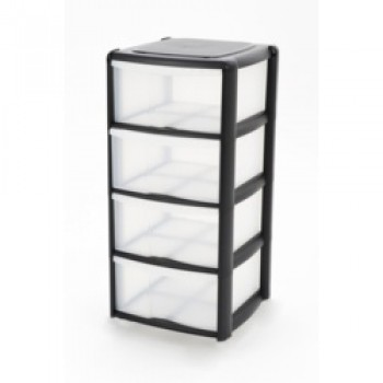 4 Drawer Tower Black