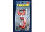 """Mini G Clamps - 1"""" AND 2"""" - 2 Piece by Toolzone"""