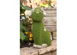 """Dylan The Dog"" Flocked Garden Ornament - Green Flock On Grey Stone"