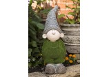 "53cms ""Griff The Boy"" Flocked Garden Ornament - Green Flock On Grey Stone"