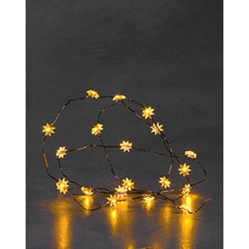 20 Yellow Stars on Copper Wire with Static and Flashing Mode.