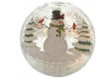 20cm Battery operated Lit Crackle effect Snowman Ball