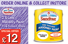 2.5Ltr Fine Textured Masonry Paint Pure Brilliant White – Now Only £12.00