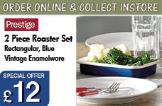 Vintage Enamelware 2 piece Rectangular Roaster Set -  Blue – Now Only £12.00