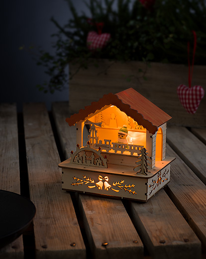 Market Stall in Wood with Warm White LEDs – Now Only £5.00