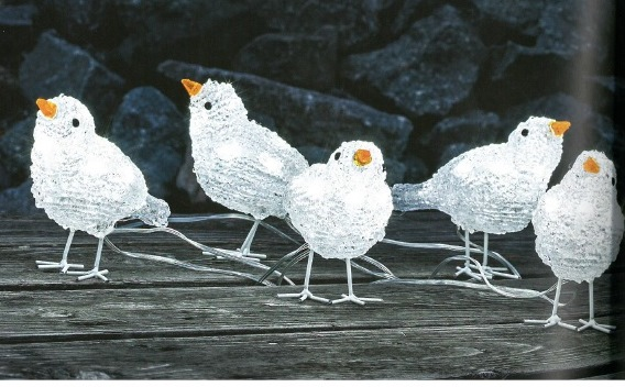 Five Acrylic Baby Birds with 40 White LEDs – Now Only £19.00