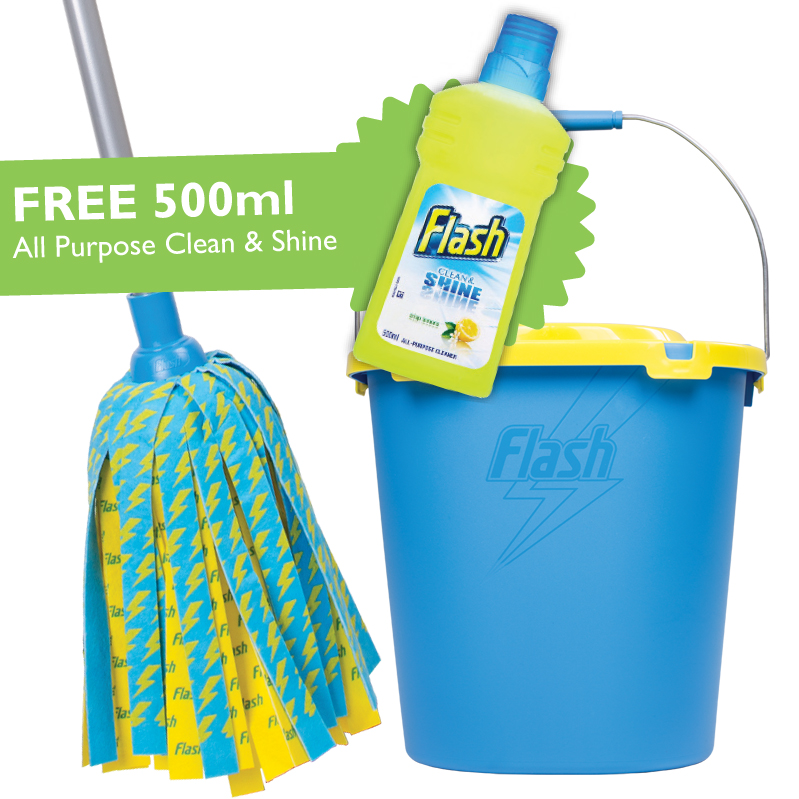 Flash Lightning Mop & Bucket wit hFree 500ml All Purpose Clean & Shine