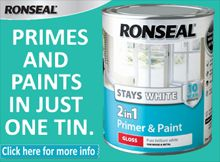 Ronseal Stays White - Primes & Paints in just one tin.