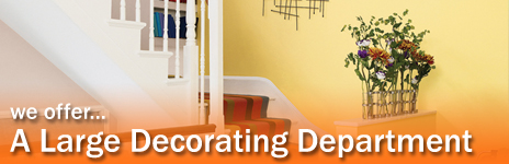 we offer a large decorating department