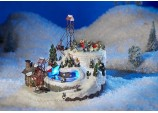 Xmas Decoration LED Lights Snow Ski Scene with Moving Sleighs Cable Car and Skaters