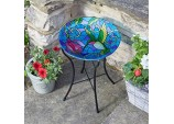 Beautiful Hummingbird Design Hand Painted Glass Birdbath on stand