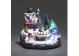 Xmas LED Animated Musical House Scene with Children Santa Parcel