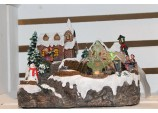 Xmas LED Musical Snow Village Carol Singers & REAL water Fountain