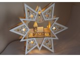 Christmas Decoration - Indoor LED Star with Church Scene lights Wood Window Light