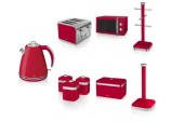 Swan Set-RED Microwave 1.5L Kettle 4 slice Toaster Breadbin Canister Poles