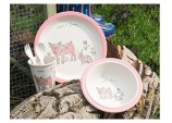 Visit A Farm Pig Children Pressed Bamboo Dinner Set
