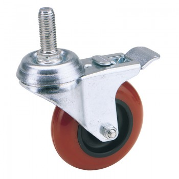100mm Dia. Swivel Bolt Fixing Polyurethane Wheel with Brake - S.W.L. 125Kg