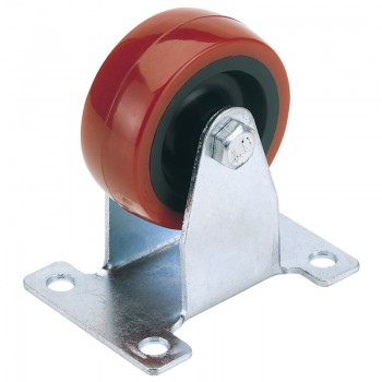 100mm Dia. Fixed Plate Fixing Polyurethane Wheel - S.W.L. 125Kg