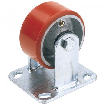 100mm Dia. Fixed Plate Fixing Heavy Duty Polyurethane Wheel - S.W.L. 250Kg