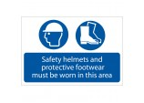 'Safety Helmets And Protective Footwear Must Be Worn' Mandatory Sign