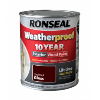 Weatherproof 10 Year Exterior Wood Paint Gloss 750ml - Chestnut