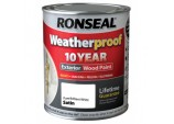 Weatherproof 10 Year Exterior Wood Paint Satin 750ml - Pure Brilliant White
