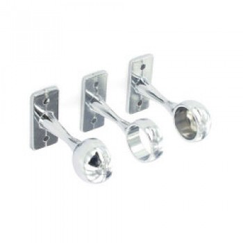 1 Centre & 2 End Brackets Chrome Plated - 19mm