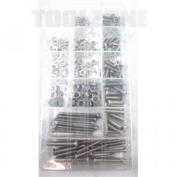 Nuts and Screw Bolts, Stainless Steel ,224 piece by Toolzone