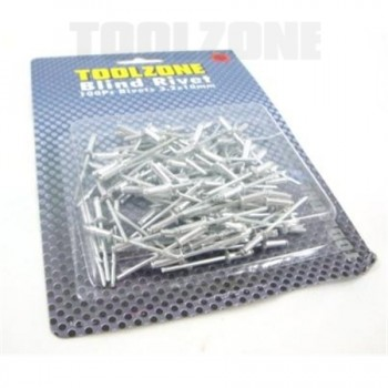 Rivets 3.2mm x 10mm, 100 Piece by Toolzone