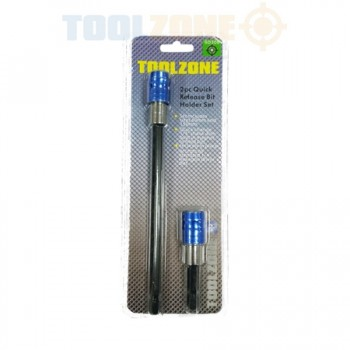 2 Piece Quick Release Bit Holder Set For Drill/ Hex/ Screw Drivers by Toolzone