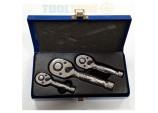 Toolzone Professional 3 Piece 72 Teeth Stubby Ratchet Set 1/4, 3/8, 1/2 Drive In Embossed Metal Case