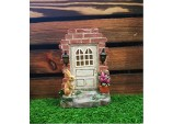 19cms Fairy Folklore Solar Fairy House Door with RABBIT Solar light Resin Garden Ornament