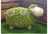 FLOCKED GARDEN ORNAMENT SHEILA THE SHEEP STONE EFFECT GARDEN HOME DÉCOR ACCESSORIES