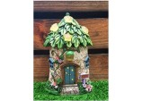 15cms Fairy Folklore Solar Green Leaf Roof with Stars Fairy House Solar light Resin Garden Ornament
