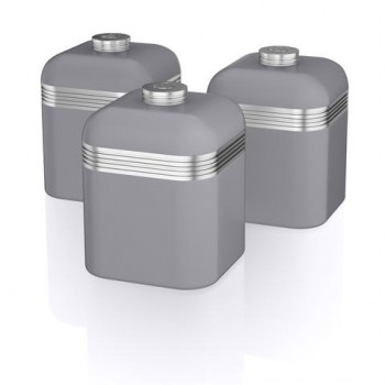 Swan Retro GREY Canisters, Set of 3,