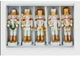 Xmas 5 WHITE Wood Hanging Soldier Nutcracker Ornaments