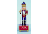 Xmas RED Music Box Glitter Soldier Wood Musical Nutcracker w Drum Ornament