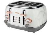 Tower Bottega T20017WMRG 4-Slice Toaster, White Marble Rose Gold