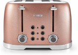 Tower T20030BP 4-Slice Toaster with 7 Variable Browning Control, Defrost, Reheat and Cancel Settings, Centering Function, Removable Crumb Tray, 1600 W, Blush Pink Glitz Sparkle