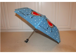 Xmas Christmas Blue Sturdy Automatic Robin Umbrella / Brolly - ideal present