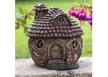 Acorn House Solar Light Garden Ornament - Brown