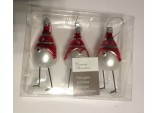 Christmas Decoration - Boxed 3 Hanging Real Glass Bird in Hat with Long Leg Ornament