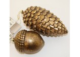 Christmas 2 Large Hanging 'Antique' look Acorn & Cone Tree Decoration Ornaments