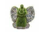 "17cms""Ellie The Elephant"" Flocked Garden Ornament - Green Flock On Grey Stone"